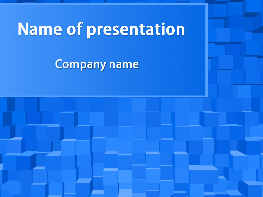 Free blue cubes PowerPoint template presentation