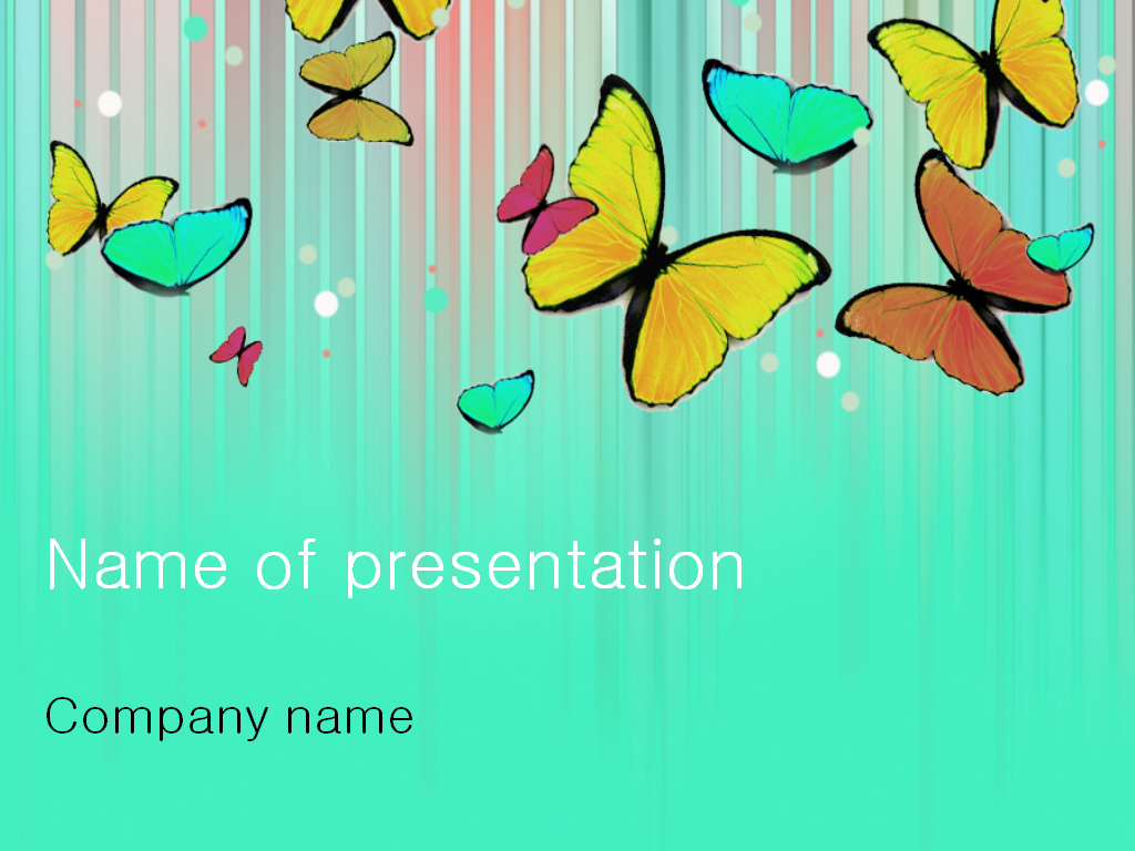 Free colourful butterfly PowerPoint template presentation