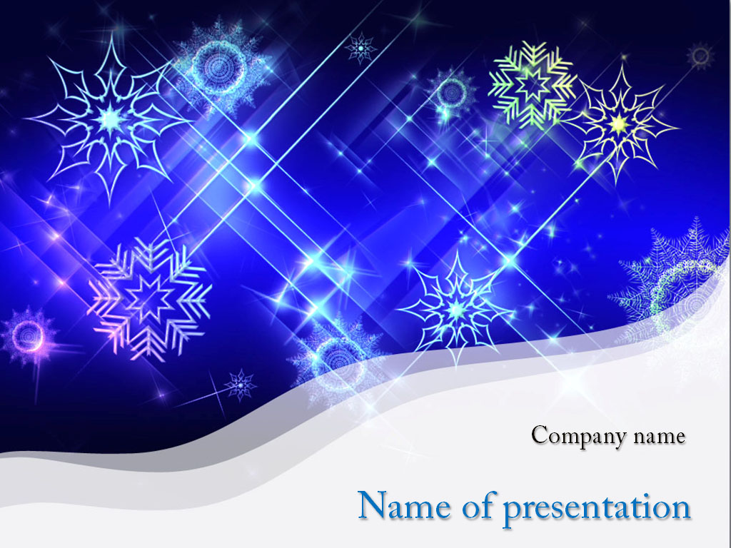 White Snowflakes powerpoint template presentation